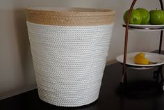 Decorate a $2 trash can from Ikea  (I have 2 of these plain. Can't wait to spruce them up. Maybe w/ upholstery trim?)