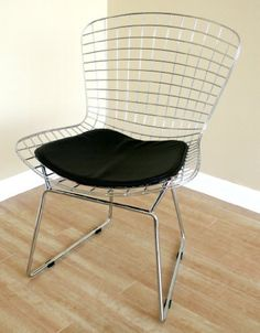 Wholesale Interiors Bertoia Wire Side Chair with Leatherette Seat Pad