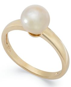 Victoria Townsend 18k Gold over Sterling Silver Ring, Pearl June Birthstone Ring (7mm)