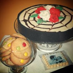 Halloween cake, cookies with smarties and cookies with photo