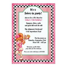 Roller Skate Birthday Invitations 50's Drive-In Waitress Birthday Invitation
