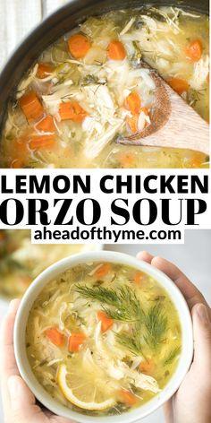 Greek Lemon Chicken, Lemon Chicken Orzo Soup, Pre Cooked Chicken, How To Cook Chicken, How To Cook Rice, Crock Pot Soup, Hot Soup, Recipes From Heaven