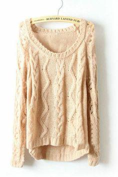 Light Khaki Long Sleeve Diaper Hollow Pullovers Sweater