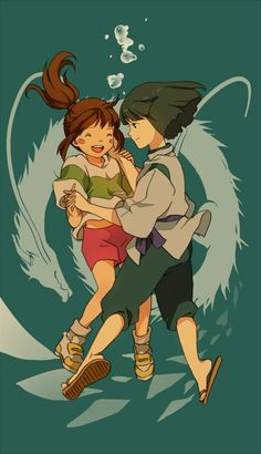 Haku & Chihiro {Spirited Away} These two. They are so perfect. Just as good together as Ponyo and Sosuke (which is REALLY saying something. Hayao Miyazaki, Totoro, Art Studio Ghibli, Studio Ghibli Movies, Manga Anime, Anime Art, Chihiro Y Haku, Howls Moving Castle, Spirited Away