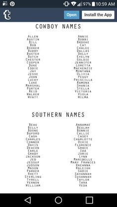Cowboy and southern names baby names for girls, cowboy baby names, western baby names Cowboy Baby Names, Western Baby Names, Country Baby Names, Southern Baby Names, Cute Baby Names, Unique Baby Names, Old Baby Boy Names, Bible Baby Names, Unusual Baby Names