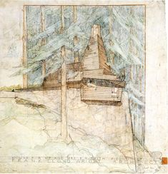 Wright  Smith House, in Piedmont Pins, California, 1939; pencil and coloured pencil, 559x584 mm