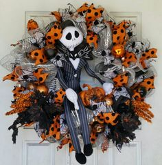 Jack Skellington Nightmare Before Christmas Wreath NBC Deco Mesh Sally https://www.etsy.com/listing/547530471/xxl-jack-sally-and-zero-nightmare-before?ref=listings_manager_grid