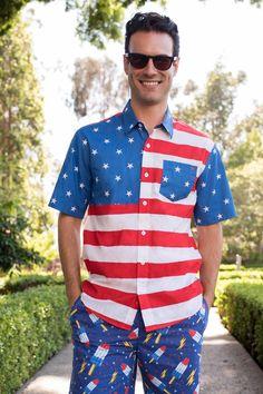 025b8b57b996 Men's American Flag Hawaiian Shirt | Tipsy Elves American Flag Button Down, Tipsy  Elves,