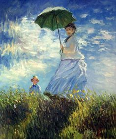 Figure Oil Painting Reproductions, Madame Monet and her Son by Claude Monet, Painting on Canvas, Home Decor Vertical