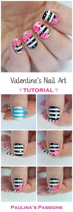 Image via Pink HIBISCUS solids and stripes nail art. Pretty, elegant, love it. Image via One stroke Blue Rose Nail Art Tutorial! Image via Peach rose nails photo Image via Rose Nail Art, Floral Nail Art, Rose Nails, Flower Nails, Nail Art Diy, Diy Nails, Rose Nail Design, Floral Design, Valentine Nail Art