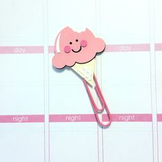 Kawaii Ice Cream Cone Paper Clip / Planner Clip / Bookmark / Erin Condren // EC // Kikki K // Filofax // Plum Paper Planner // Inkwell Press by CuteByDesignCo on Etsy