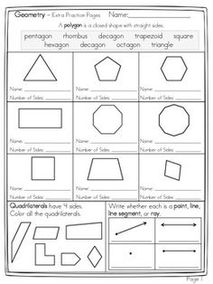 The following freebie was made to introduce students to geometry.  The student will...Name polygons and number of sidesName point, line, line segment, or ray.Label right angles.Compose and decompose shapes using pattern blocks.I will be making more later on this week - Enjoy!
