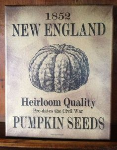 Primitive Fall Decor ~ New England Pumpkin Seeds Print ~ Made in the USA