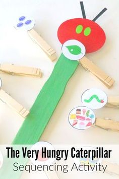 Very Hungry Caterpillar Story Sequencing Activity Very Hungry Caterpillar Storybook Sequencing Stick with Printable Story Sequencing, Sequencing Activities, Preschool Literacy, Preschool Books, Preschool Activities, Book Activities, Sequencing Events, The Very Hungry Caterpillar Activities, Hungry Caterpillar Craft