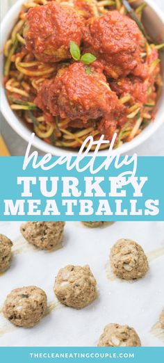 This Healthy Turkey Meatballs recipe is a nutritious twist on a classic Italian dish. These clean eating turkey meatballs are friendly, paleo, gluten free, dairy free and so delicious! Healthy Turkey Recipes, Healthy Gluten Free Recipes, Whole30 Recipes, Paleo Menu, Healthy Options, Healthy Chicken, Paleo Diet, Lunch Recipes, Appetizer Recipes