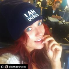 """The beautiful and talented Dancing With The Stars (DWTS) pro Sharna Burgess rocking Gratitude Couture's anti-bullying """"I AM Queen"""" beanie."""