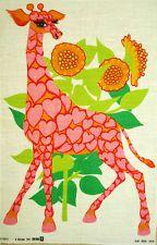 Retro 1960s pink giraffe tea towel designed for Oxfam