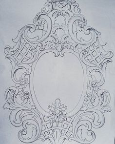 No photo description available. Wood Carving Patterns, Carving Designs, Ornament Drawing, Baroque Art, Baroque Decor, Baroque Design, Grisaille, Ornaments Design, Leather Craft
