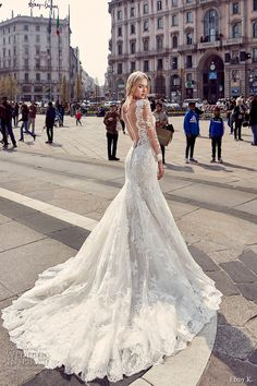 eddy k milano bridal 2017 sheer lace long sleeves deep plunging neckline heavily embellished bodice elegant mermaid wedding dress low back chapel train (md218) bv
