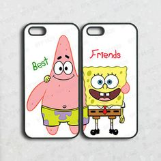 ipod 5 case,iphone 5c case,Best friends,spongebob,patrick,iphone 5s case,iphone 4s,iphone 4 case,ipod 4 case,cute iphone 5 case,pair case