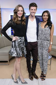 Grant Gustin (with co-stars Candice Patton and Danielle Panabaker) during the CTV Upfront 2014 in Toronto, Canada on Thursday afternoon (June 5).