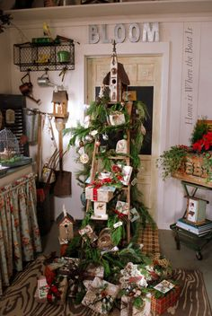 vintage ladder with christmas presents