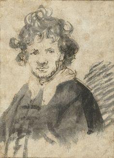 Rembrandt van Rijn (1606-1669), Self- Portrait, ca. 1629, Pen and brown ink and gray wash. Rijksmuseum, Amsterdam.