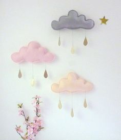 3 x Spring Whimsical rain clouds Mobiles by leptitpapillon
