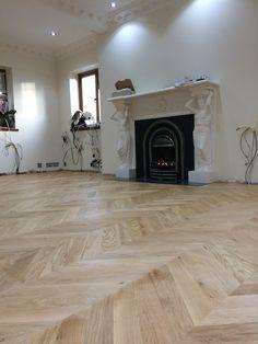 Oak Chevron parquet, laid, sanded and sealed. Parquet Flooring, Hardwood Floors, Floor Design, Apartment Design, Engineered Wood, Bungalow, Chevron, Oxford, Interiors