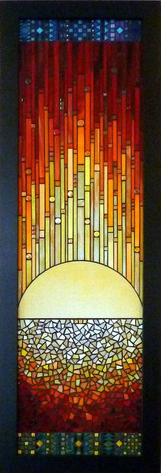 "Sunrise by Kathy Thaden, Thaden Mosaics 15"" x 53""  Assorted stained glass, ceramic, gold smalti"