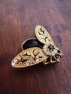 Vintage Insect Brooch with Rhinestones by primitivepincushion, $38.99