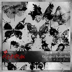 What a great representation of nature is the butterfly..I love them any way they come.. especially when they are messy and grungy..  This pack contains 8 Grungy Butterfly brushes in ABR and 24 pngs in the image pack [8 black & 16 coloured]..