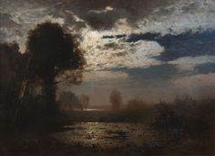 Moonlit Lake, Louis Douzette. Germany (1834 - 1924)