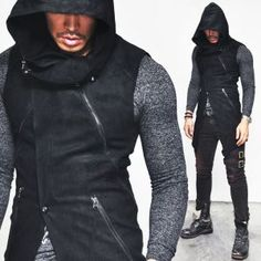 Sharp Diagonal Cut Dark Edge Highneck Hood-Vest 67