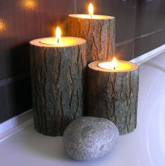 Acacia Tree Branch Candle Holders, Bath Decor, Tea Light Holder, Rustic Centerpiece, Home Decor Woodland