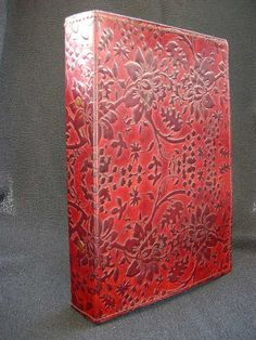 A5 Ring Binder Hand-Tooled Leather Honeysuckle by DiaryShop