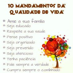 10 mandamentos para qualidade de vida