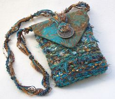 Woven fabric and fibers purses - Nancy Faris Designs -