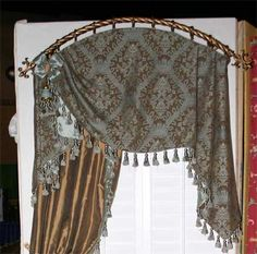 arched treatment - can mount on board also.look for the same treatment with different fabric on this board. We would do the inside mount. Arched Window Treatments, Bathroom Window Treatments, Window Coverings, Window Bed, Window Drapes, Hanging Curtains, Drapes And Blinds, Drapes Curtains, Valances