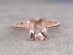 7x9mm Cushion Morganite Engagement Ring Diamond Wedding Ring 14k Rose Gold  Filigree