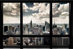 """New York Window Poster ($8 USD) -   It's a hell of a town...and now you can have a slice of the New York experience, even in Cleveland, or on a submarine, or wherever you might be!  Unframed.   Dimensions: 24 x 36"""""""