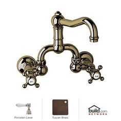 View the Rohl A1418LPTCB-2 Tuscan Brass Country Bath Wall Mounted Bathroom Faucet with Pop-Up Drain and Porcelain Lever Handles at Build.com.