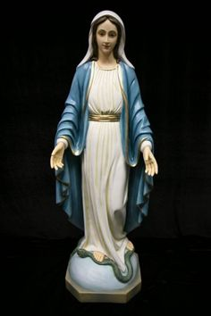 """Our Lady of Grace Statue, Hand Painted Marble Composite - 40""""H - Full Color"""