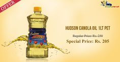 Get offers on #Hudson #Canola #Oil & other groceries only from Kiraanastore.