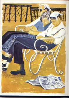 """Seaside attire"" by Robert Tavener (lithograph)"