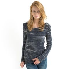 La Redoute Womens Buttoned Striped Sailor Sweater