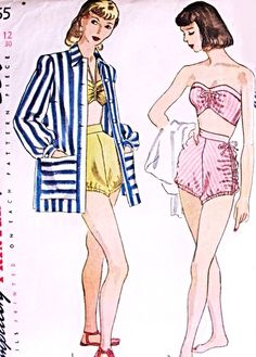 1940s Glam 2 Pc Bathing Suit and Beach Coat Coverup Pattern SIMPLICITY 1965 Strapless or Halter Top Swimsuit High Waist Shirred Sides Swimming Trunks Pin Up Style Swim Wear Vintage Sewing Pattern