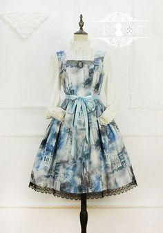 Miss Point - William's Castle - Gothic Oil Painting Lolita Jumper Dress Harajuku Fashion, Lolita Fashion, Mode Kawaii, Japanese Harajuku, Kawaii Dress, Jumper Dress, Lolita Dress, Gothic, Plus Size