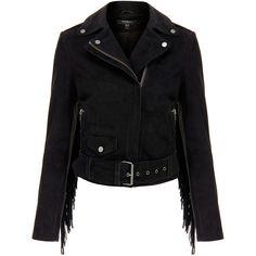 Muubaa Romana Black Suede Fringed Biker Jacket (3.240 ARS) ❤ liked on Polyvore featuring outerwear, jackets, coats & jackets, coats, black, fringe jacket, fringe moto jacket, moto jacket, collar jacket and suede moto jacket
