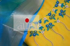 WhatsApp 9035330901 for customized hand embroidery kurti material Bead Embroidery Patterns, Flower Embroidery Designs, Beaded Embroidery, Embroidery Stitches, Kurti Neck Designs, Blouse Designs, Kurti Patterns, Neck Pattern, Churidar